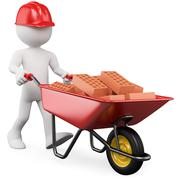 3d worker pushing a wheelbarrow with bricks Stock Illustration