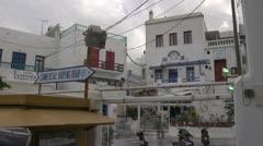 Greek village commercial centre, medium Stock Footage