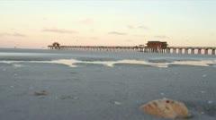 Naples Beach Pier Stock Footage