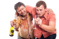 drunken men drinking alcohol - stock photo