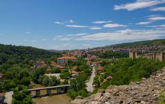 mihail kefalov street from tsarevets castle - stock photo