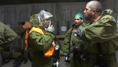 Hazmat protection suits Nuclear, biological, chemical suits Stock Footage