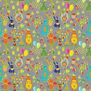 seamless happy birthday cartoon background - stock illustration