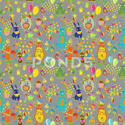 Stock Illustration of seamless happy birthday cartoon background
