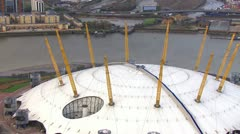 Stock Video Footage of Aerial view of the 02 Arena in London