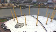 Aerial view of the 02 Arena in London Stock Footage