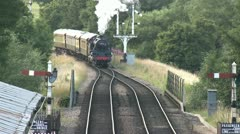 Steam Train Arriving at Station Stock Footage
