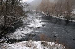 yantra river in the winter - stock photo