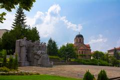 central square in veliki preslav town - stock photo