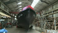 Stock Video Footage of Dunkirk Little Ship Fire Boat Massey Shaw in Boat Yard. Wide