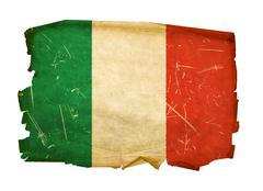 italy flag old, isolated on white background. - stock photo