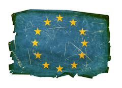 Europe flag old, isolated on white background. Stock Photos