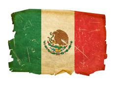 Stock Photo of mexico flag old, isolated on white background.