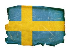 Sweden flag old, isolated on white background. Stock Photos
