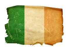ireland flag old, isolated on white background. - stock photo