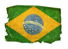 Brazil flag old, isolated on white background Stock Photos