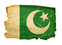 pakistan flag old, isolated on white background. - stock photo