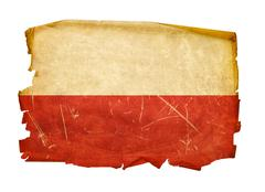 poland flag old, isolated on white background - stock photo