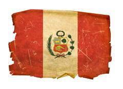 peru flag old, isolated on white background. - stock photo
