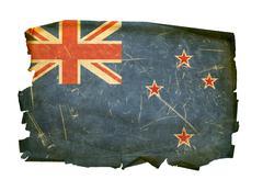 new zealand flag old, isolated on white background. - stock photo