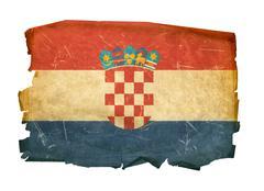 Croatia flag old, isolated on white background. Stock Photos