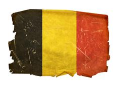 Belgium flag old, isolated on white background. Stock Photos