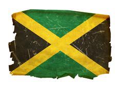 jamaica flag old, isolated on white background. - stock photo