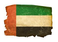 Stock Photo of united arab emirates flag old, isolated on white background.