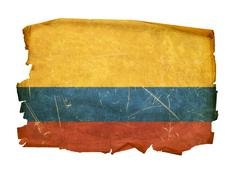 colombia flag old, isolated on white background. - stock photo