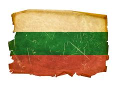 bulgaria flag old, isolated on white background. - stock photo