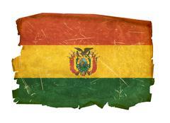 bolivia flag old, isolated on white background. - stock photo