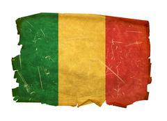 mali flag old, isolated on white background. - stock photo