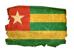 togo flag old, isolated on white background. - stock photo