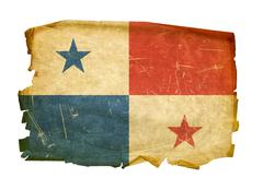 panama flag old, isolated on white background. - stock photo