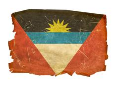 antigua and barbuda flag old, isolated on white background. - stock photo