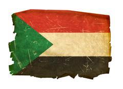 sudan flag old, isolated on white background. - stock photo