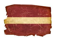 latvia flag old, isolated on white background. - stock photo