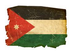 Jordan flag old, isolated on white background. Stock Photos