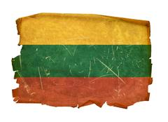 lithuania flag old, isolated on white background. - stock photo