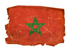 morocco flag old, isolated on white background. - stock photo