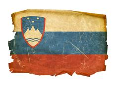 slovenia flag old, isolated on white background. - stock photo