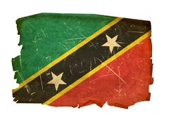 Stock Photo of saint kitts and nevis flag old, isolated on white background.