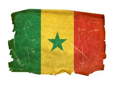 Stock Photo of senegal flag old, isolated on white background.