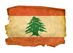 Stock Photo of lebanese flag old, isolated on white background.
