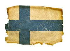 Stock Photo of finland flag old, isolated on white background.