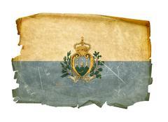 san marino flag old, isolated on white background. - stock photo