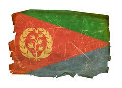 eritrea flag old, isolated on white background. - stock photo