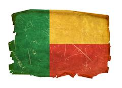 benin flag old, isolated on white background. - stock photo