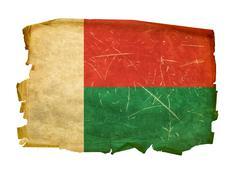 madagascar flag old, isolated on white background. - stock photo