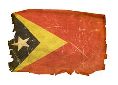 East timor flag old, isolated on white background. Stock Photos